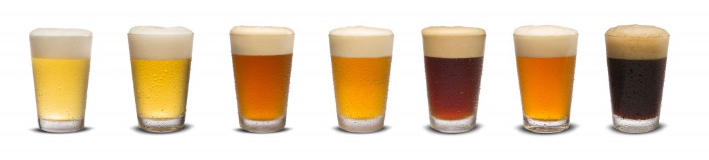 Set of many beer glasses with different beer isolate on white background