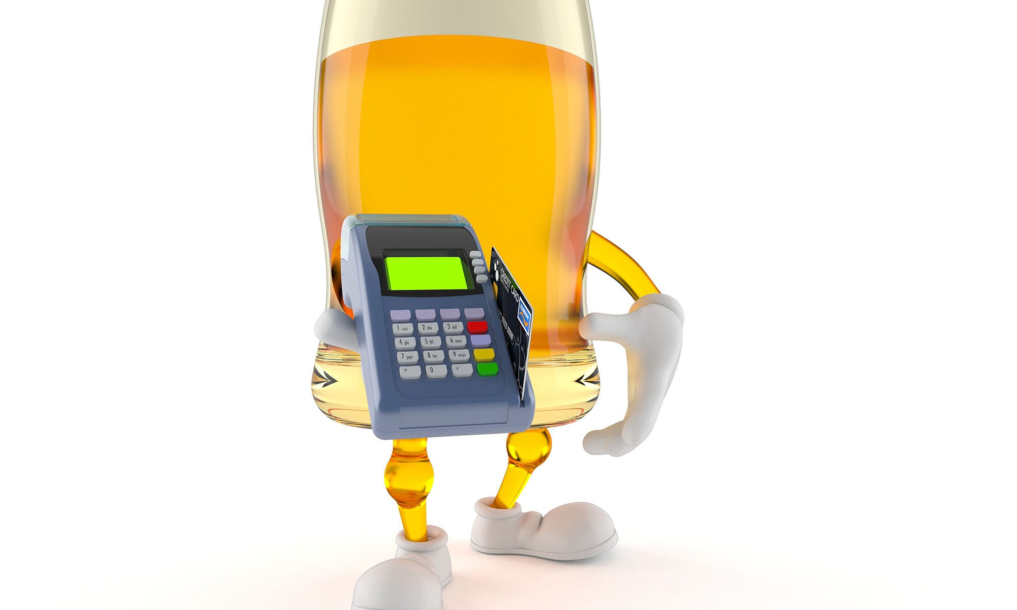 Beer character holding credit card reader isolated on white background